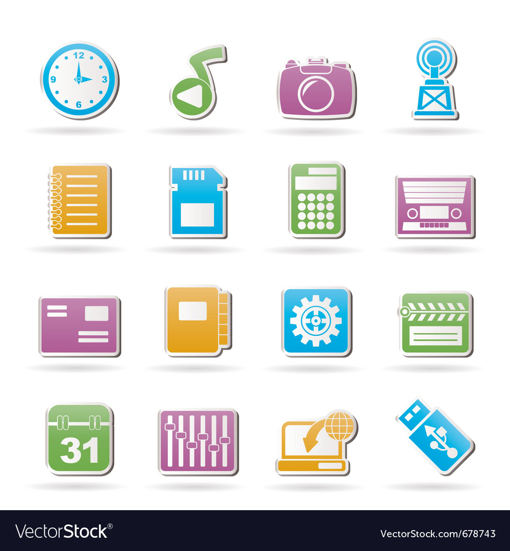 Phone performance and office icons vector | Price: 1 Credit (USD $1)