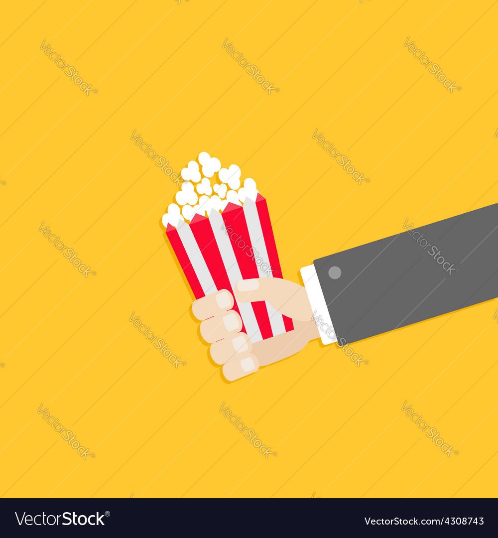Popcorn businessman hand cinema icon in flat vector | Price: 1 Credit (USD $1)