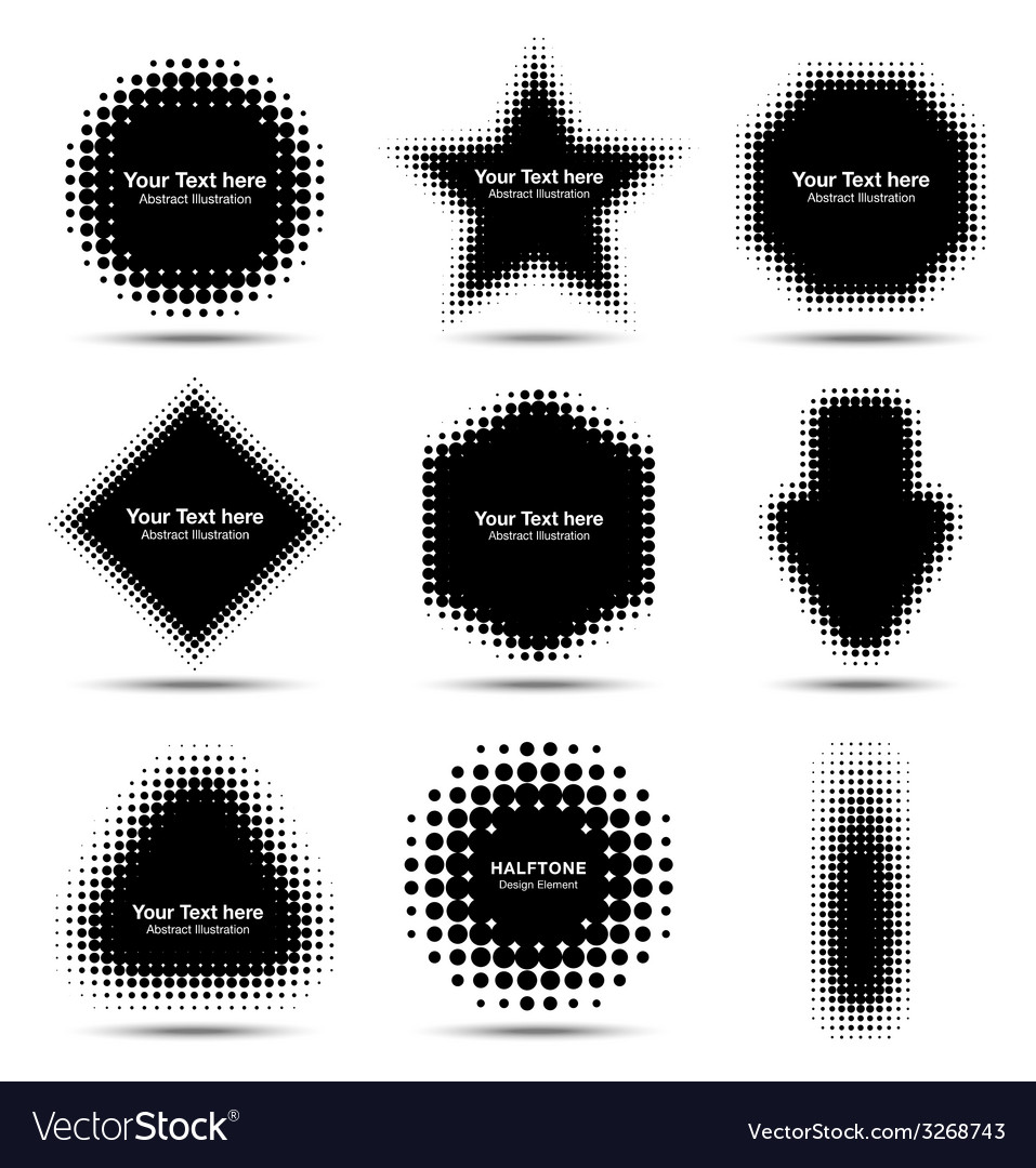 Set of 9 abstract halftone design elements vector | Price: 1 Credit (USD $1)