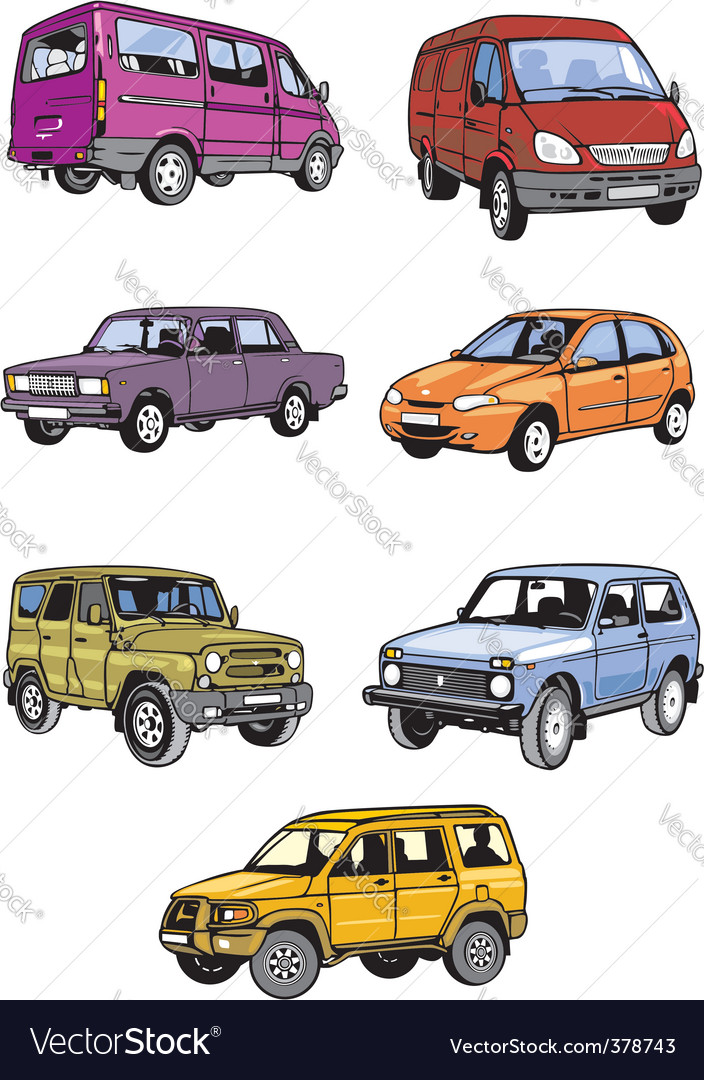 Seven passenger cars vector | Price: 1 Credit (USD $1)