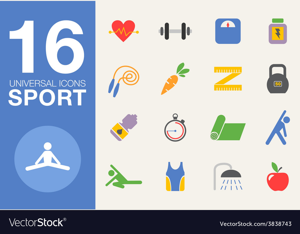 Sport and healthy life concept flat icon set of vector | Price: 1 Credit (USD $1)