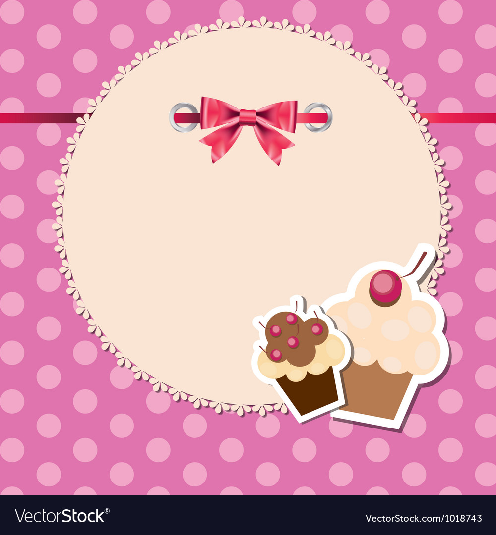 Vintage frame wit bow and cute cupcakes vector | Price: 1 Credit (USD $1)