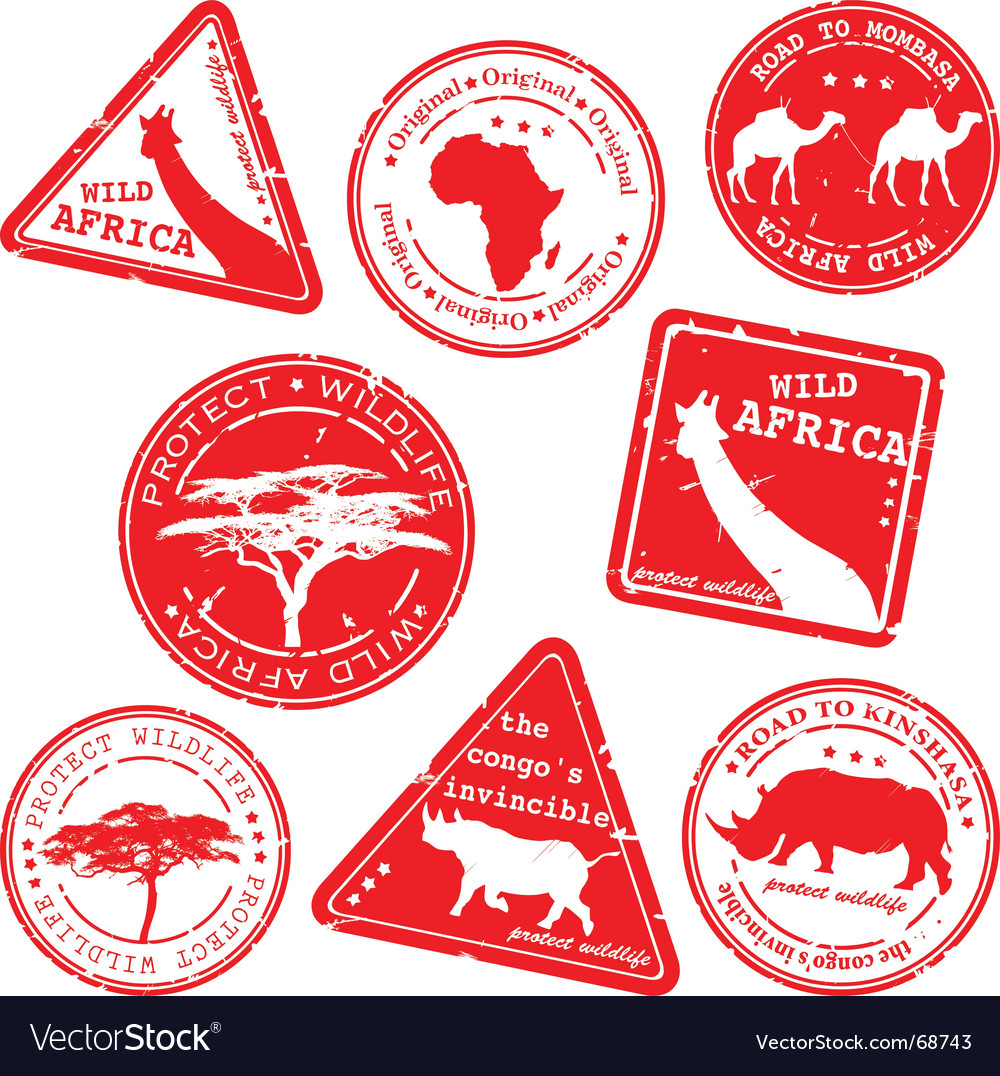 Wild africa stamps vector | Price: 1 Credit (USD $1)