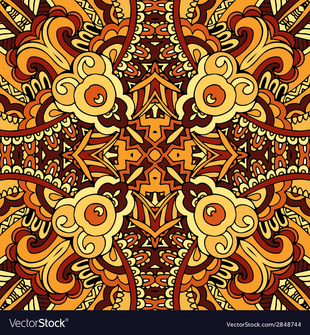 Abstract ethnic indian autumn seamless pattern vector | Price: 1 Credit (USD $1)