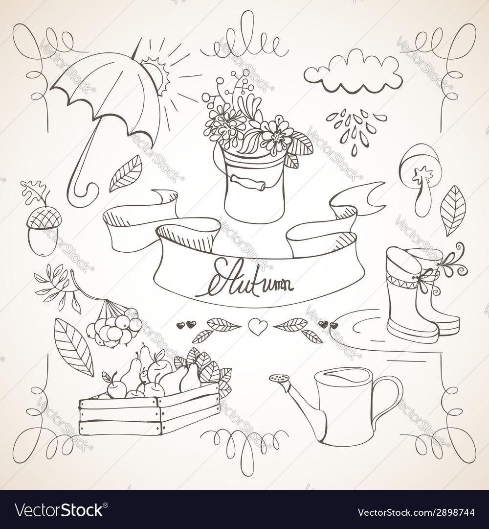 Autumn doodles card vector   Price: 1 Credit (USD $1)