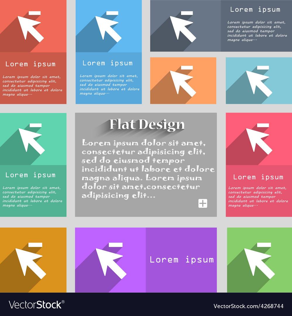 Cursor arrow minus icon sign set of multicolored vector | Price: 1 Credit (USD $1)