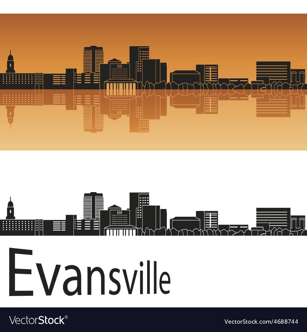 Evansville skyline in orange background in vector | Price: 1 Credit (USD $1)