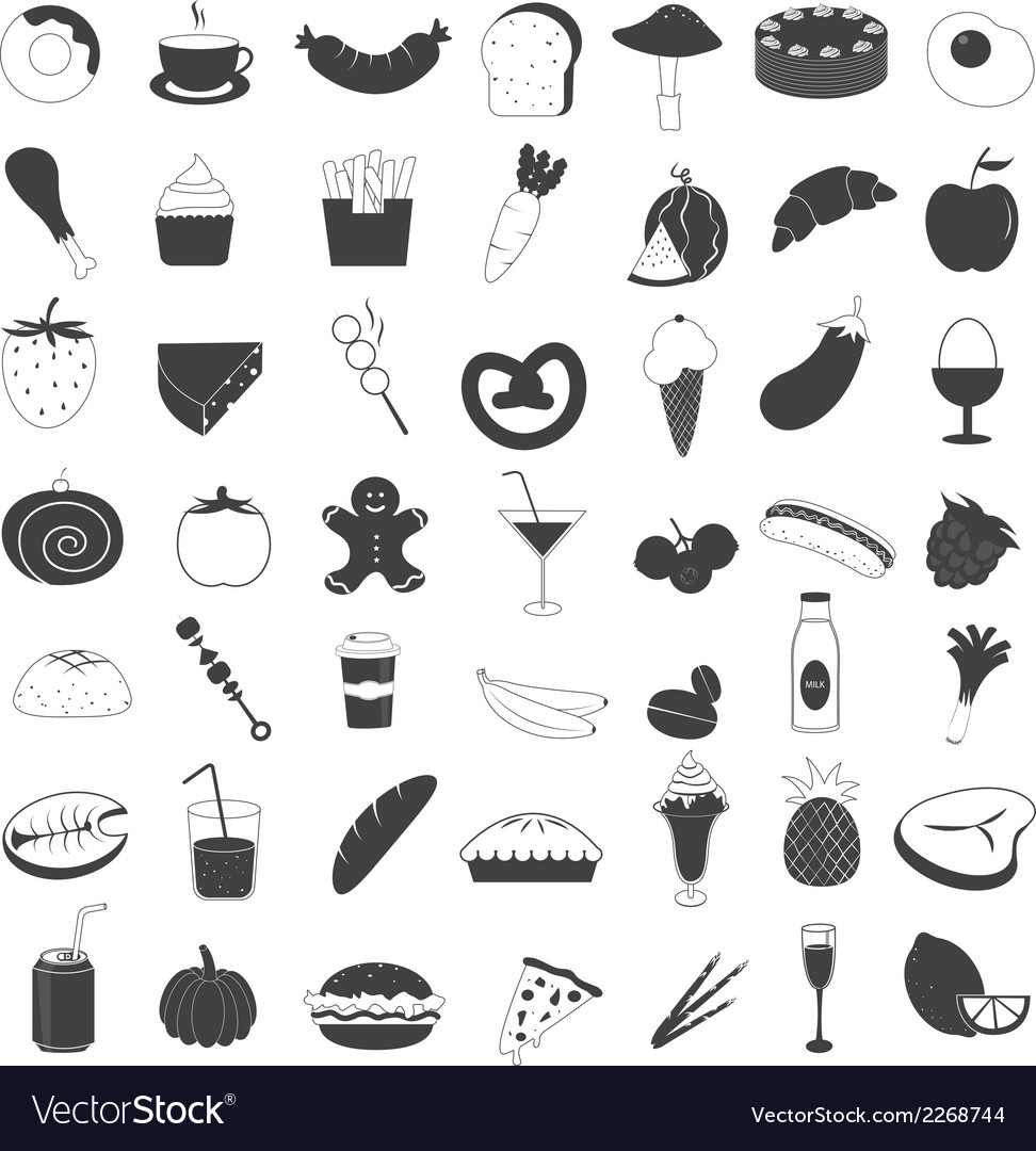 Food and drink icons collection vector | Price: 1 Credit (USD $1)