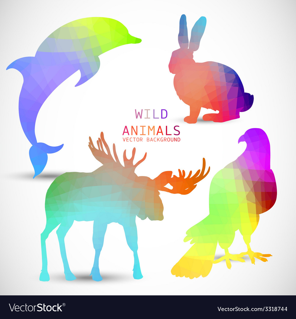 Geometric silhouettes of animals dolphin rabbit vector | Price: 1 Credit (USD $1)