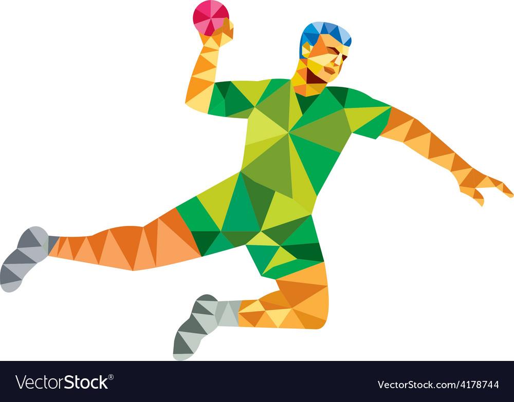 Handball player jumping throwing ball low polygon vector | Price: 1 Credit (USD $1)
