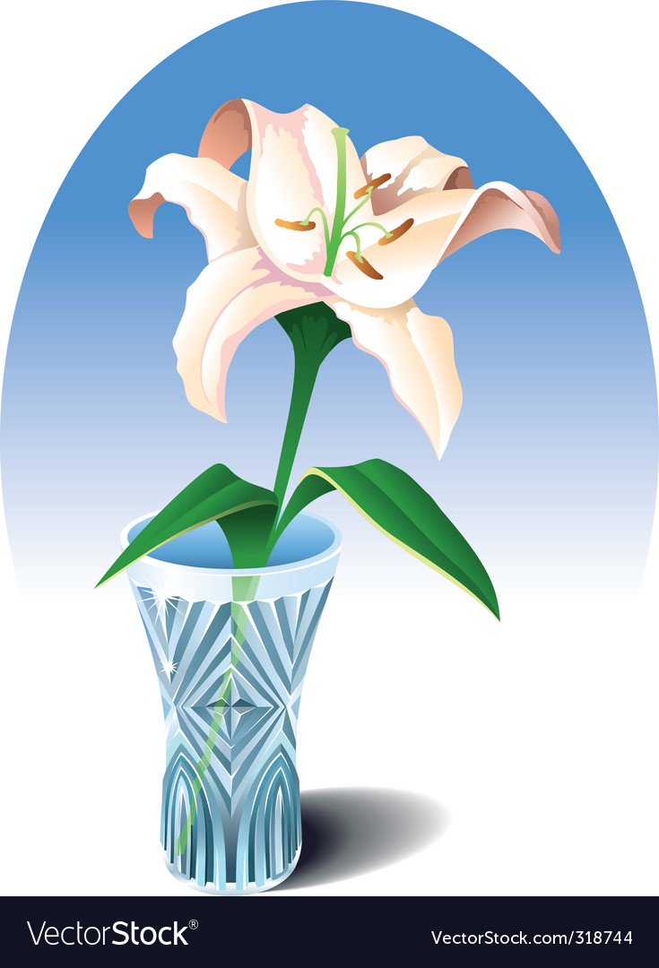 Lily in the vase vector | Price: 3 Credit (USD $3)