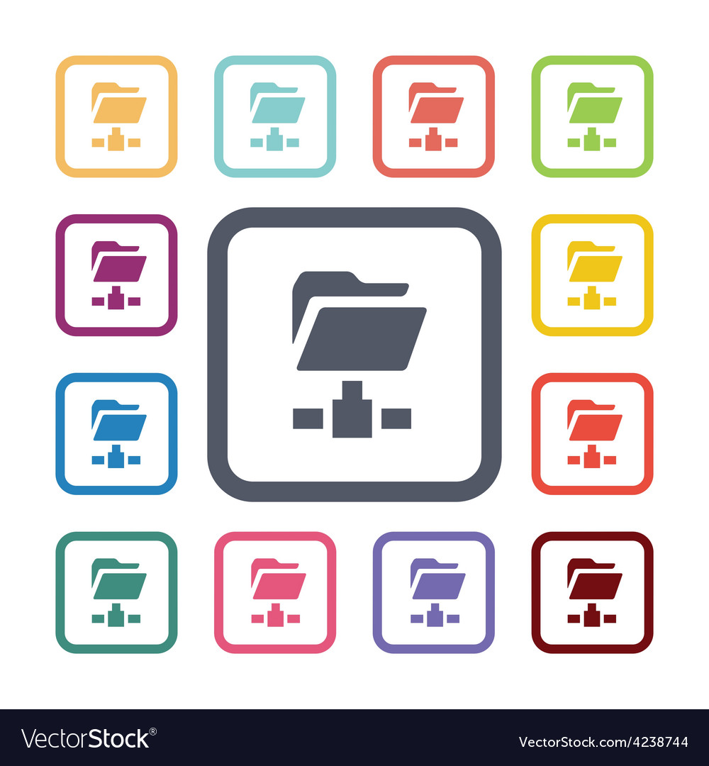 Net folder flat icons set vector | Price: 1 Credit (USD $1)