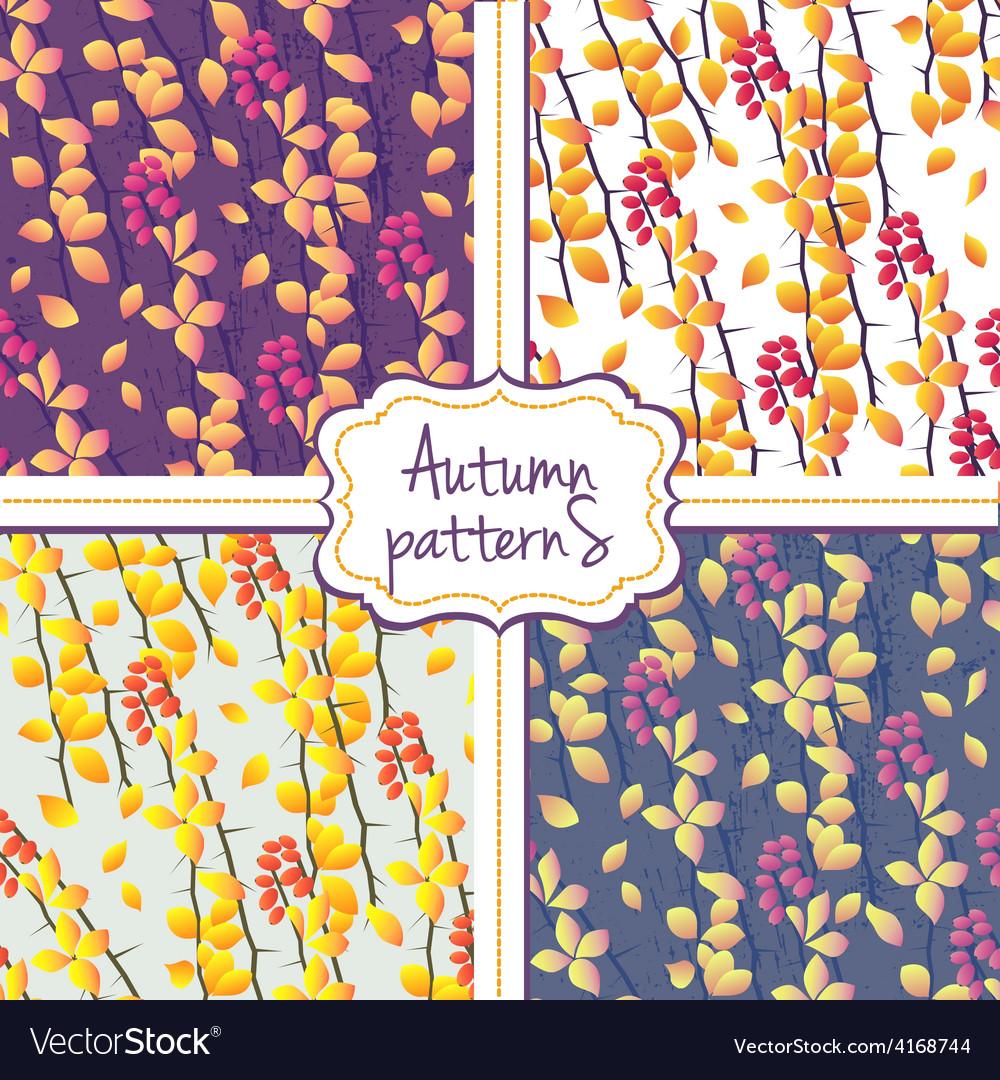 Seamless autumn pattern set vector | Price: 1 Credit (USD $1)