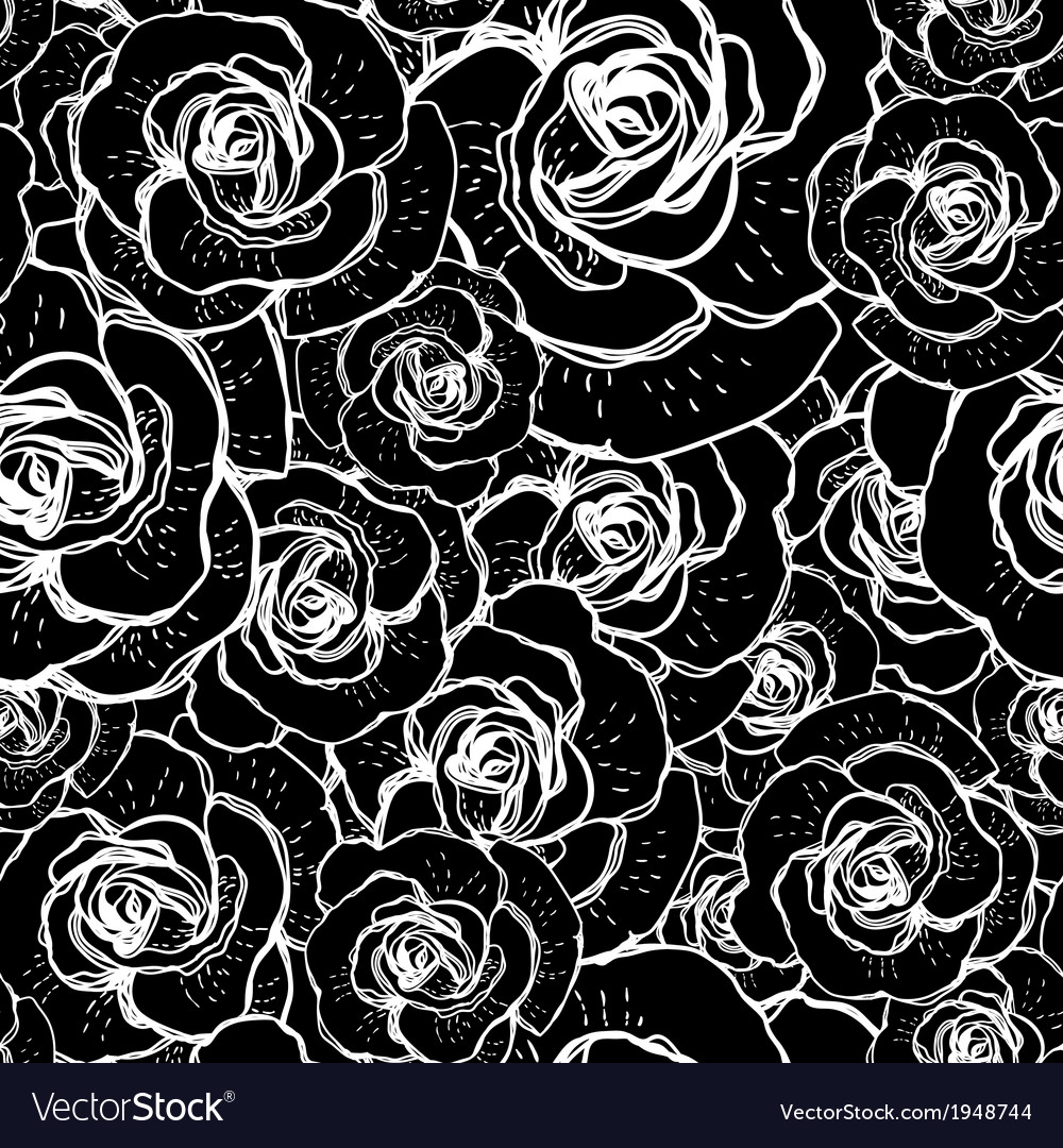 Seamless black and white background with roses vector | Price: 1 Credit (USD $1)