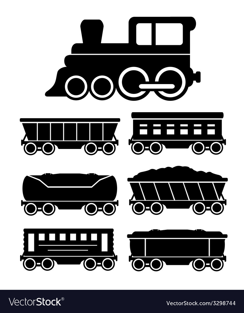 Set train cars for travel or cargo delivery vector | Price: 1 Credit (USD $1)