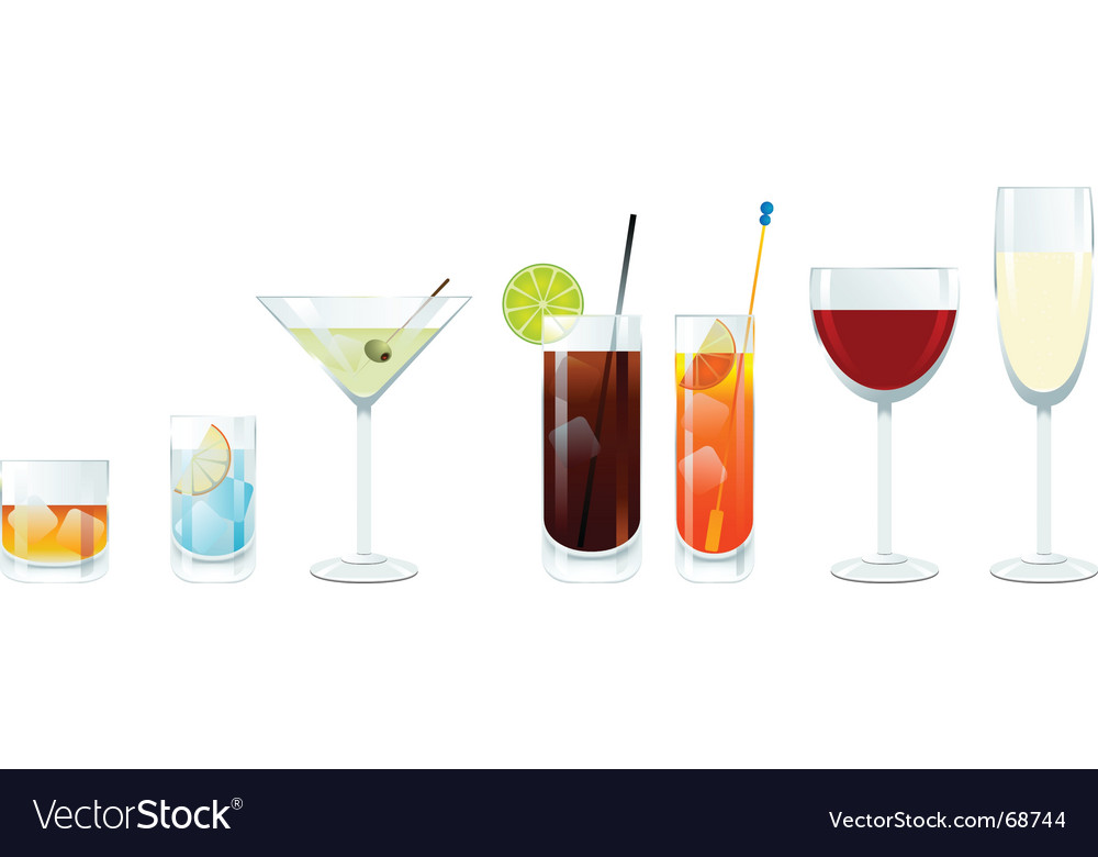 Wine and cocktail glasses vector | Price: 1 Credit (USD $1)