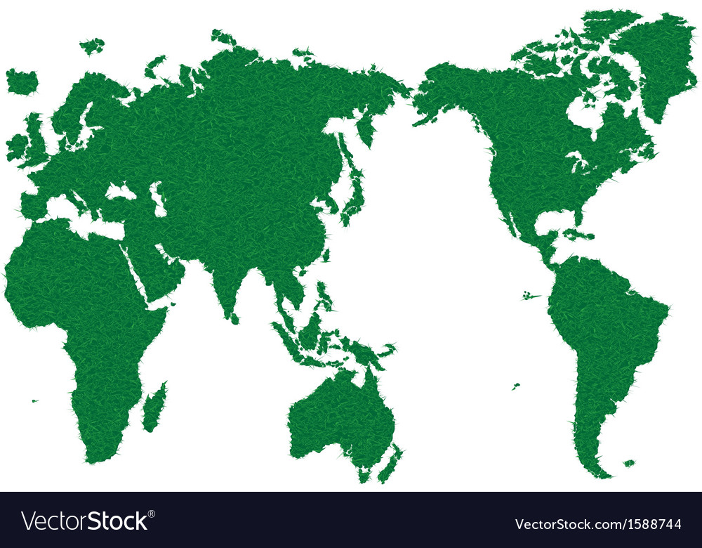 World map grass green vector | Price: 1 Credit (USD $1)