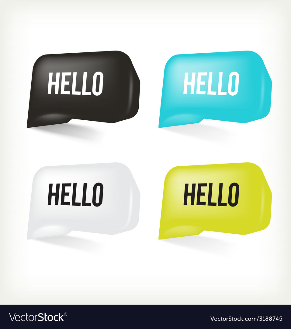 3d message hello vector | Price: 1 Credit (USD $1)