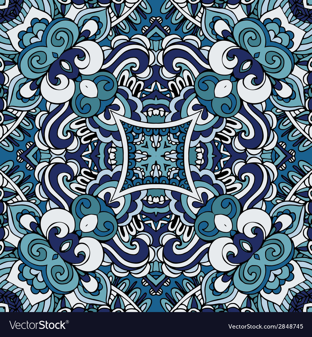 Abstract blue vintage damask paisley seamless vector | Price: 1 Credit (USD $1)