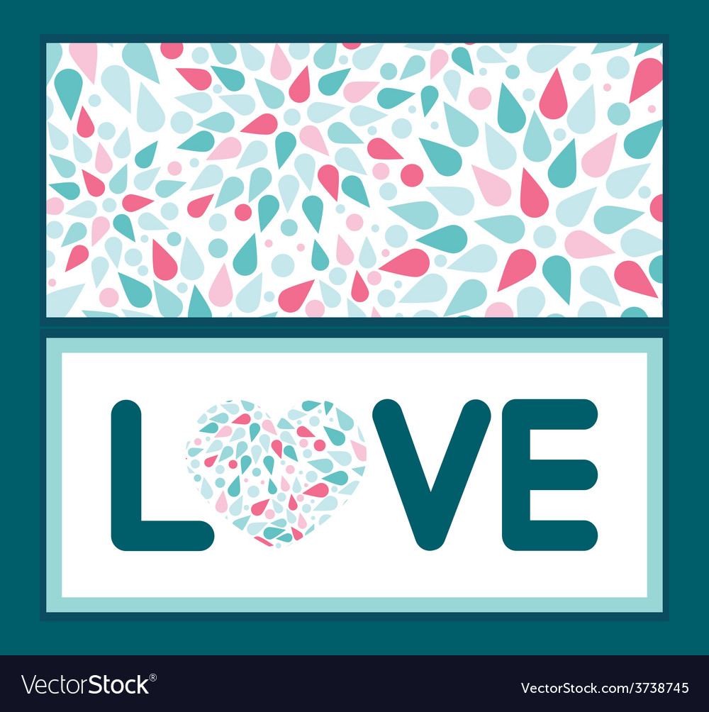 Abstract colorful drops love text frame vector | Price: 1 Credit (USD $1)