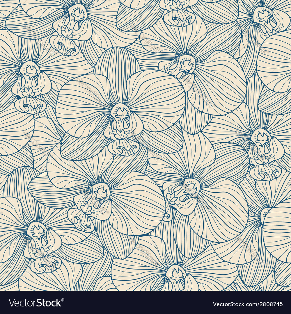 Blue lines orchid seamless pattern vector