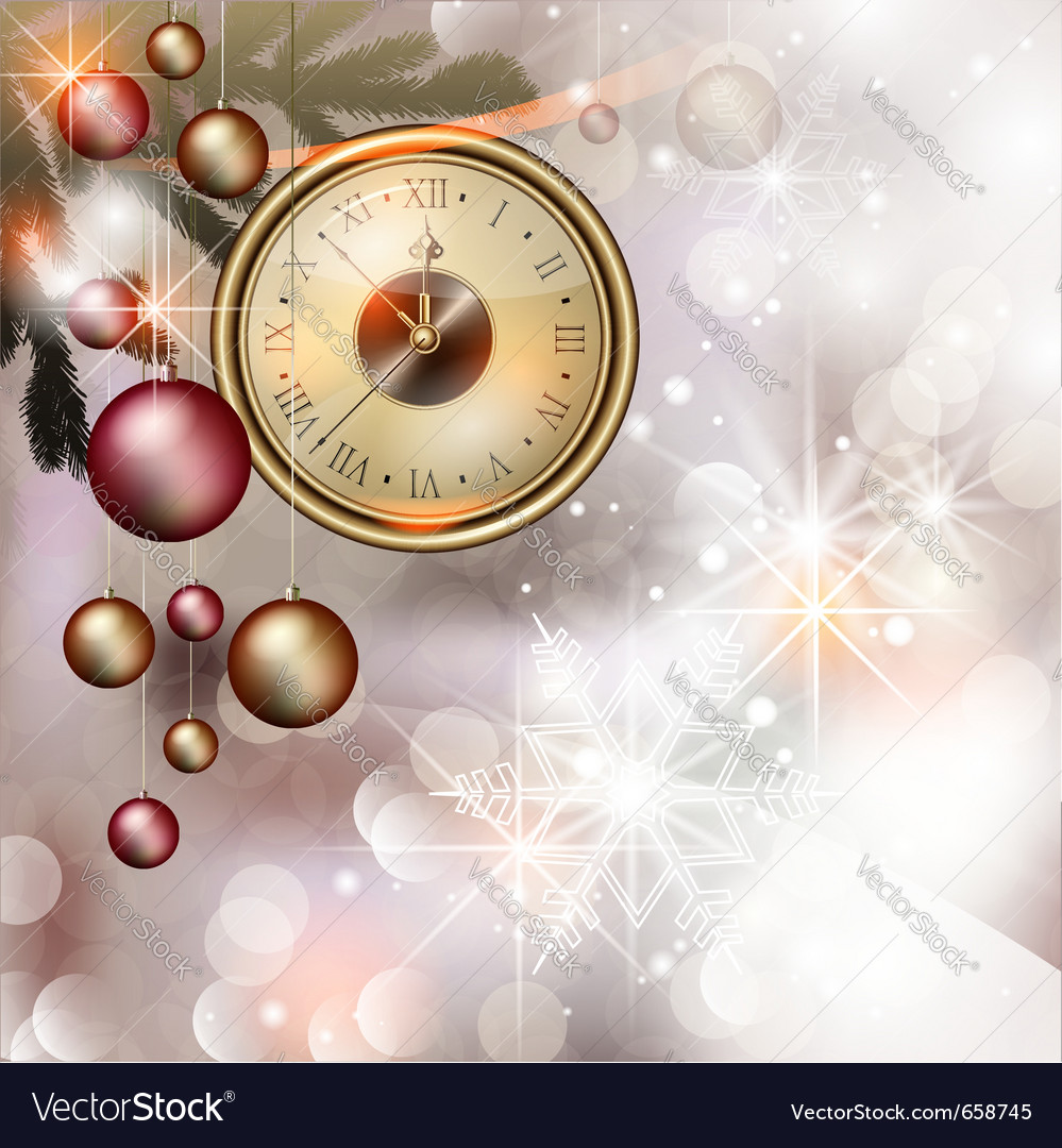 Bright christmas background with clock vector | Price: 1 Credit (USD $1)