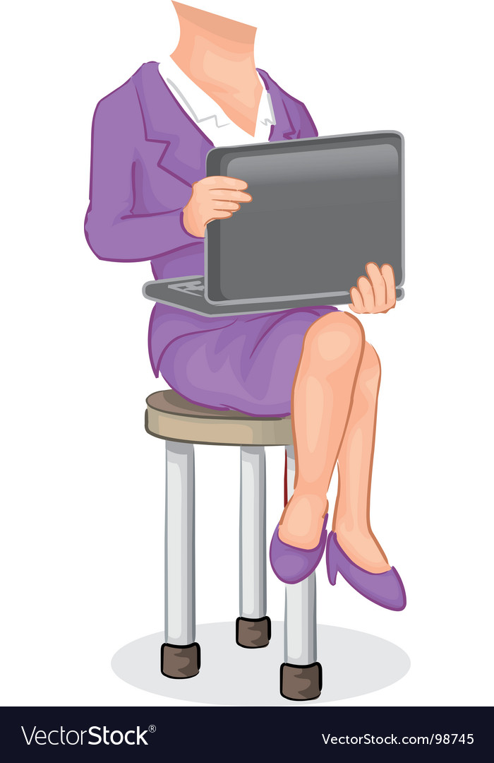 Girl with laptop vector | Price: 1 Credit (USD $1)