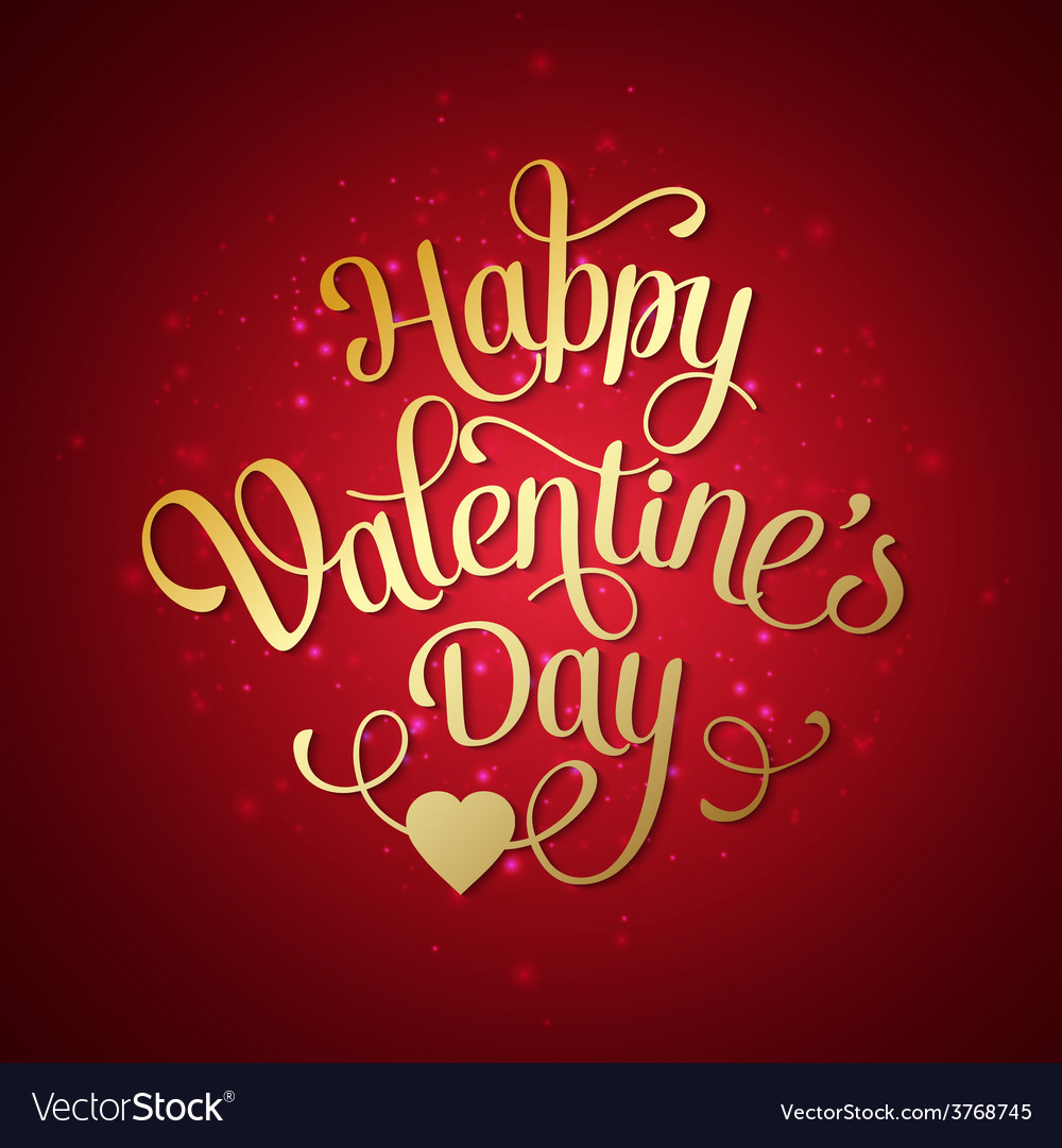 Happy valentines day vintage card with lettering vector | Price: 1 Credit (USD $1)