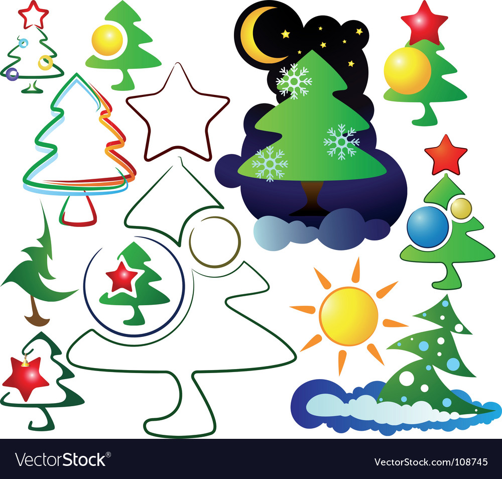 Icons and logos christmas trees vector | Price: 1 Credit (USD $1)