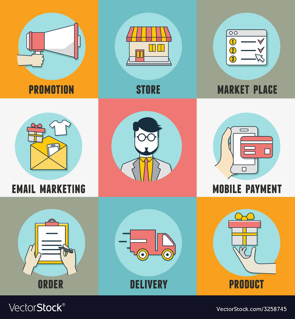 Infographic of process mobile shopping vector | Price: 1 Credit (USD $1)