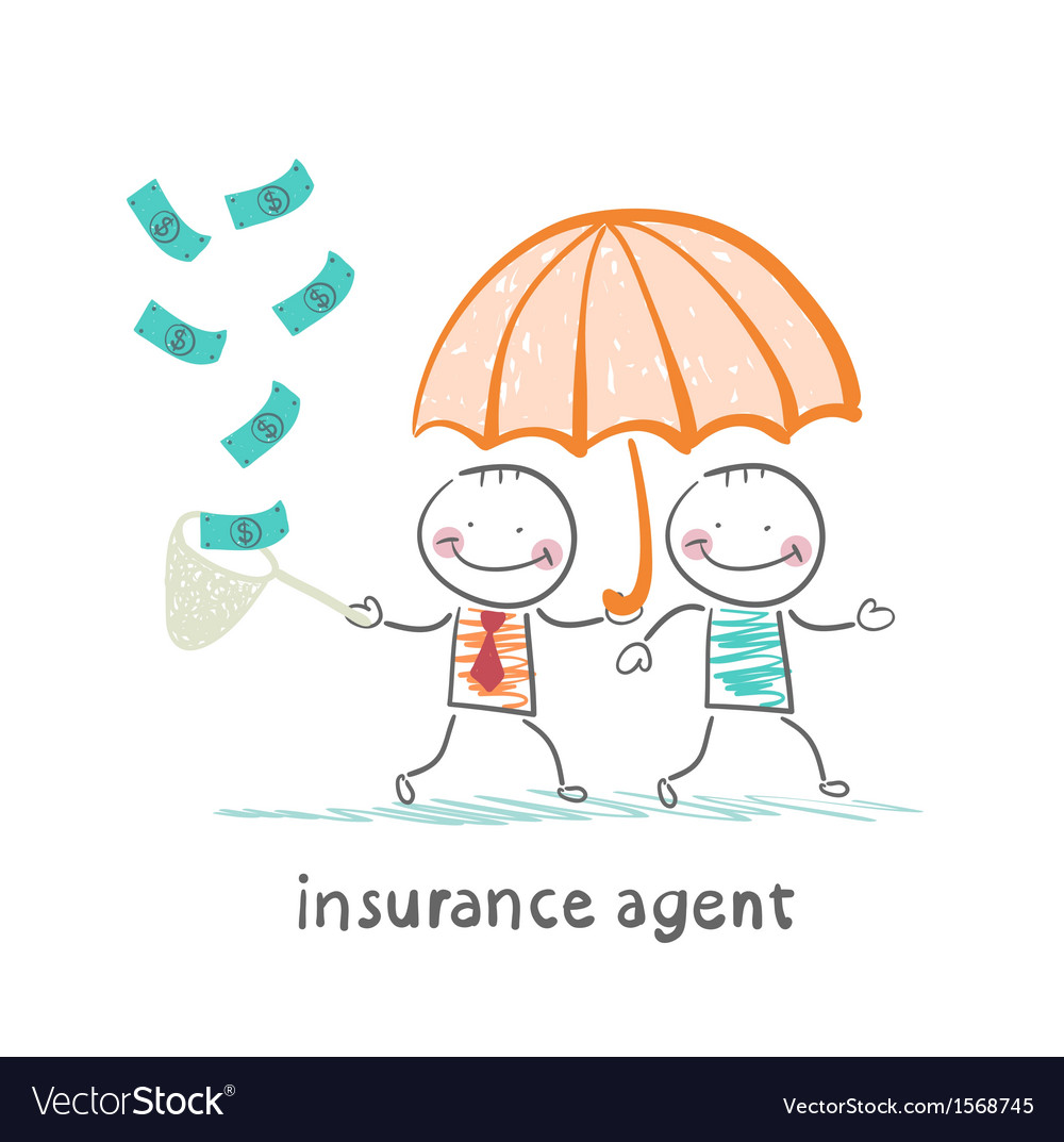 Insurance agent protects human umbrella and vector | Price: 1 Credit (USD $1)