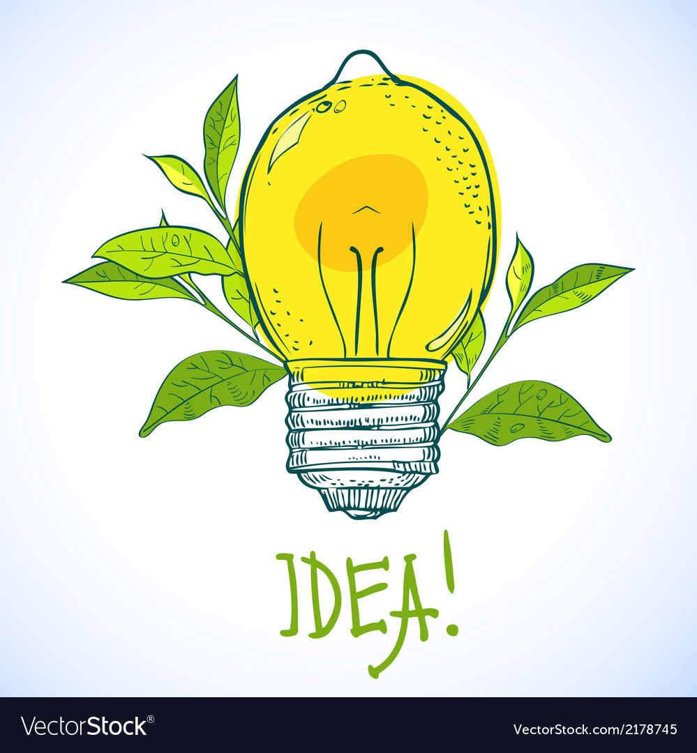 Lamp in the form of lemon idea vector | Price: 1 Credit (USD $1)