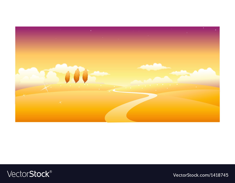 Path over landscape vector | Price: 1 Credit (USD $1)