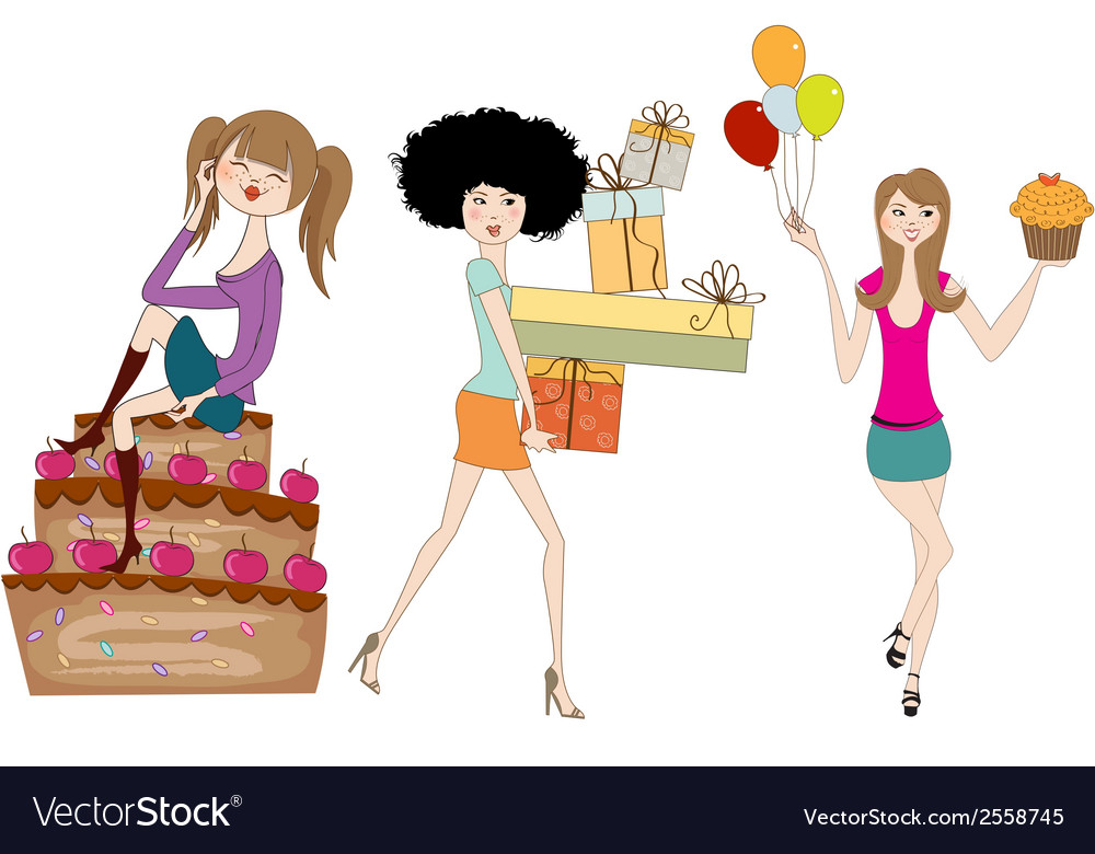 Set of three young girls at birthday party vector   Price: 1 Credit (USD $1)