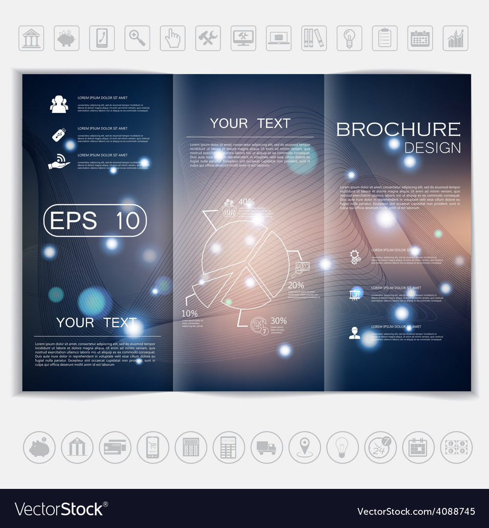 Tri-fold brochure mock up design smooth unfocused vector | Price: 1 Credit (USD $1)