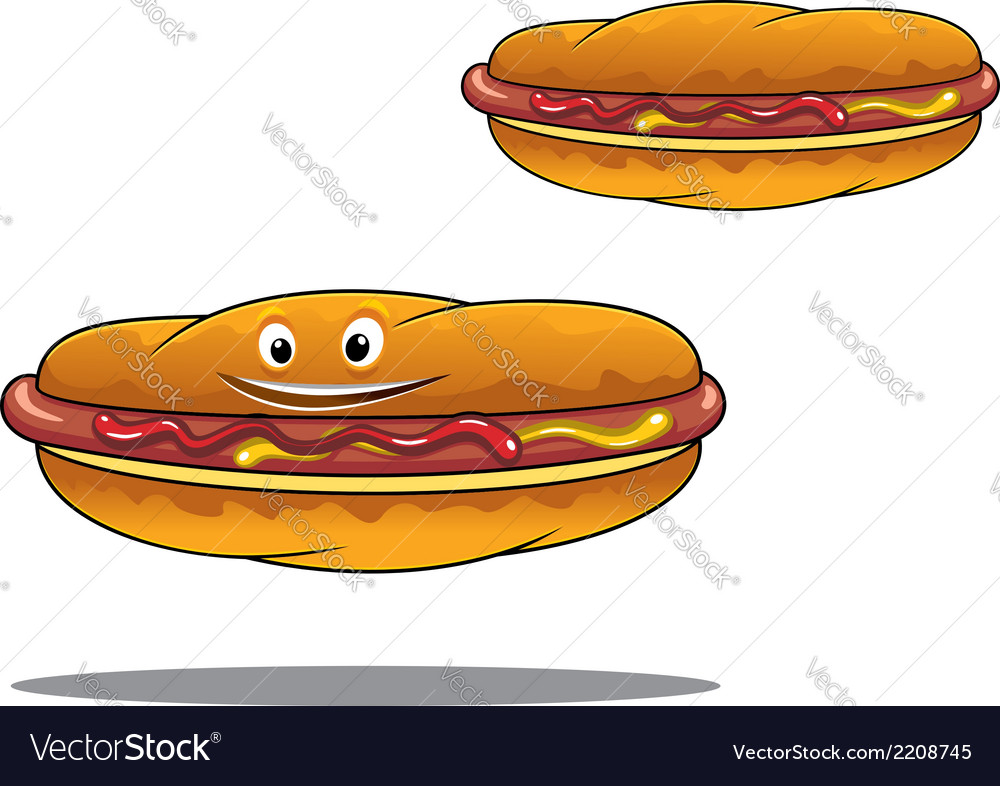 Two hotdogs with mustard and ketchup vector | Price: 1 Credit (USD $1)