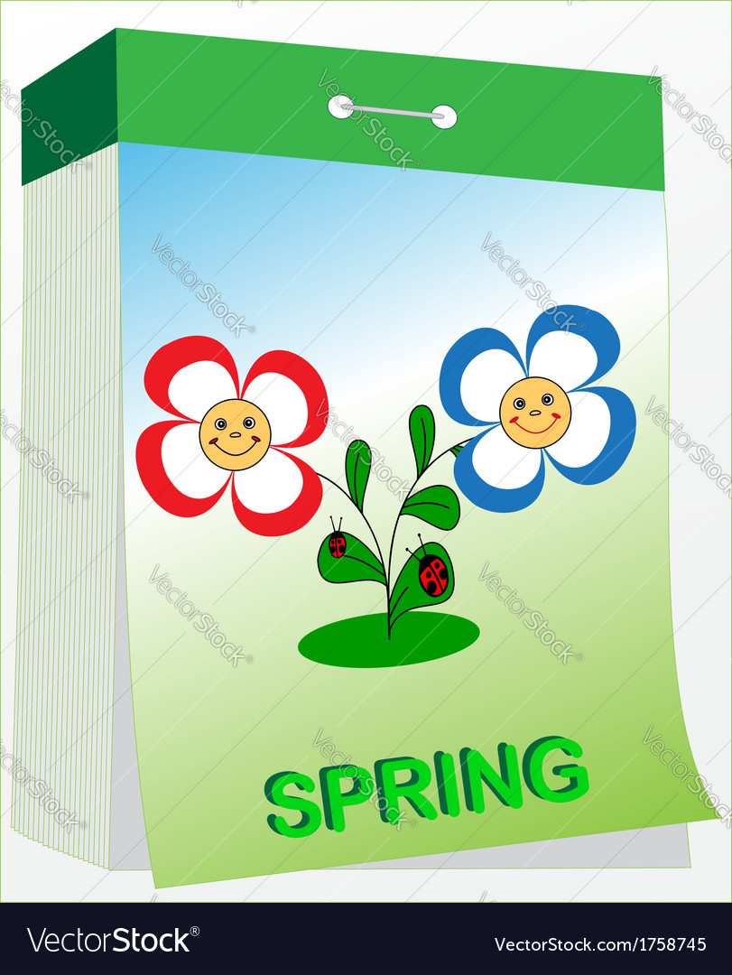 Wall tear off calendar spring vector | Price: 1 Credit (USD $1)