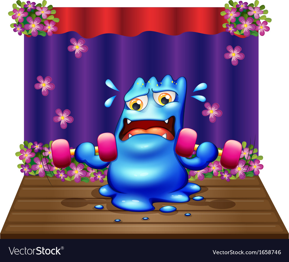 A blue monster exercising in the middle of the vector   Price: 3 Credit (USD $3)