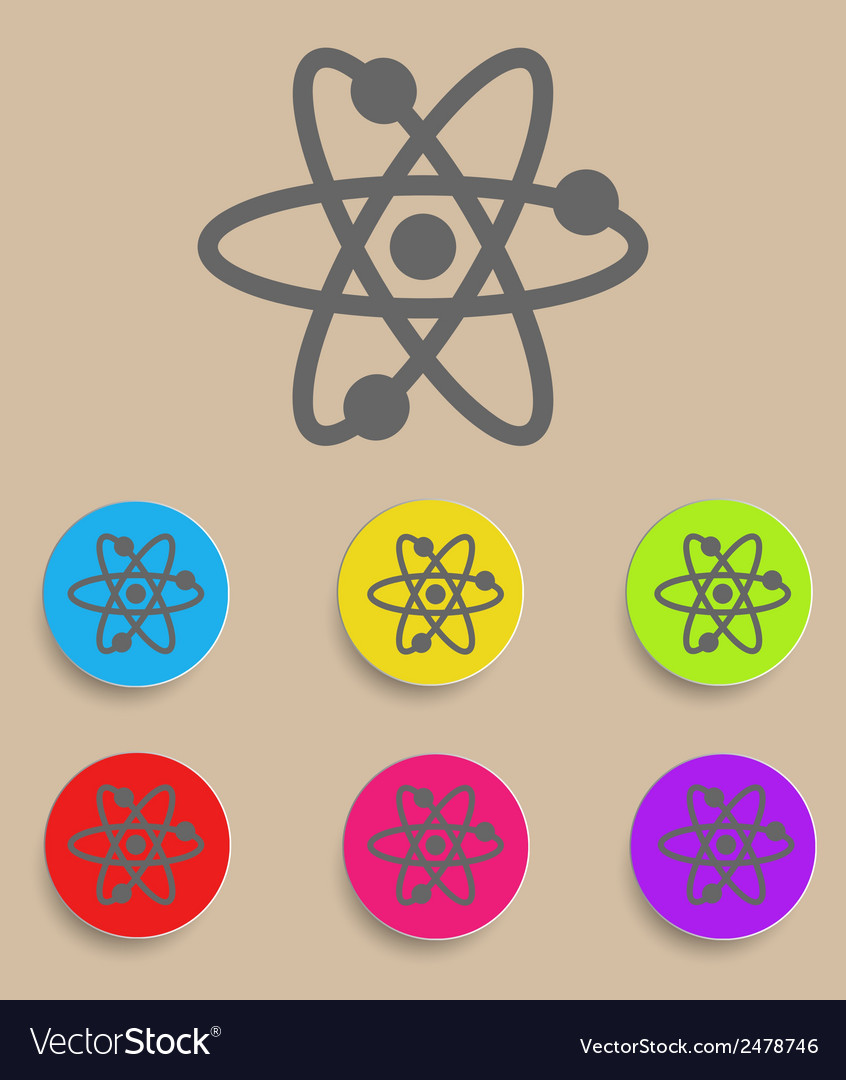 Atomic symbol icon with color variations vector | Price: 1 Credit (USD $1)