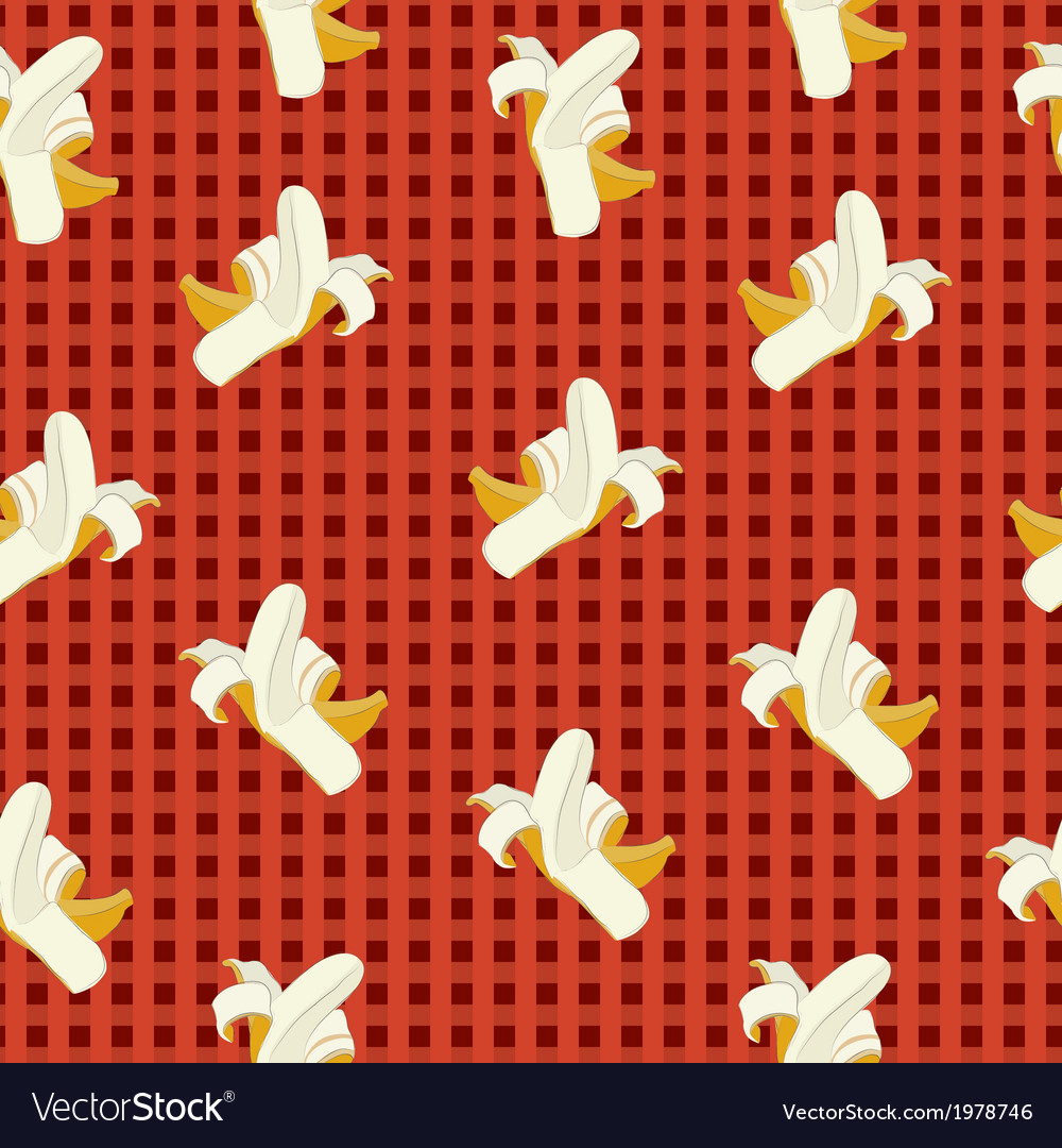 Bananas on a red plaid background vector | Price: 1 Credit (USD $1)