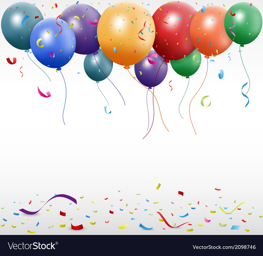Birthday celebration with balloon vector | Price: 1 Credit (USD $1)