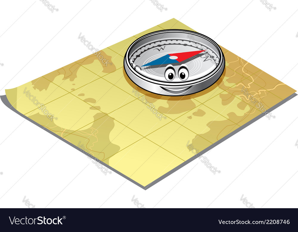 Compass on a map vector | Price: 1 Credit (USD $1)