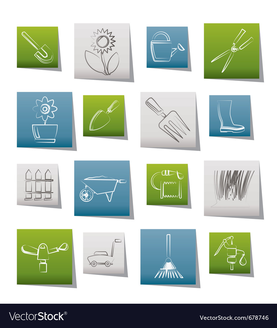 Garden and gardening tools and objects icons vector | Price: 1 Credit (USD $1)