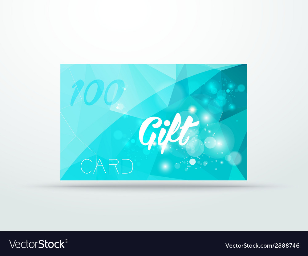 Gift greeting card aqua blue glitter with shine vector | Price: 1 Credit (USD $1)