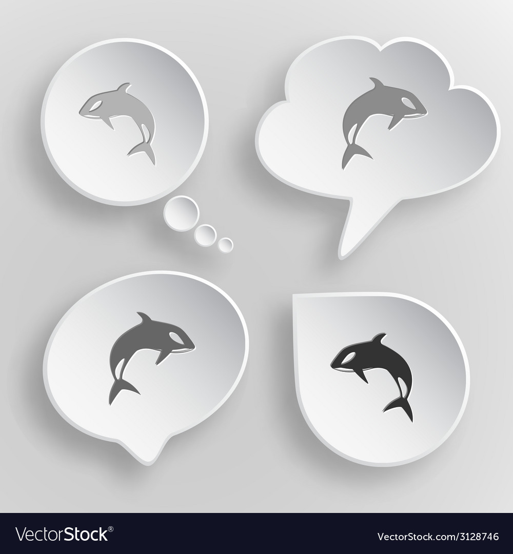 Killer whale white flat buttons on gray background vector | Price: 1 Credit (USD $1)