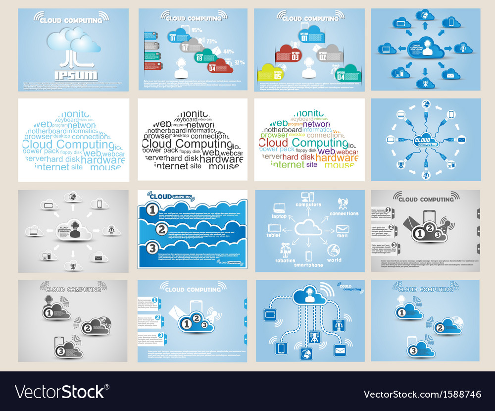 Mega collection web cloud computing infographic vector | Price: 1 Credit (USD $1)