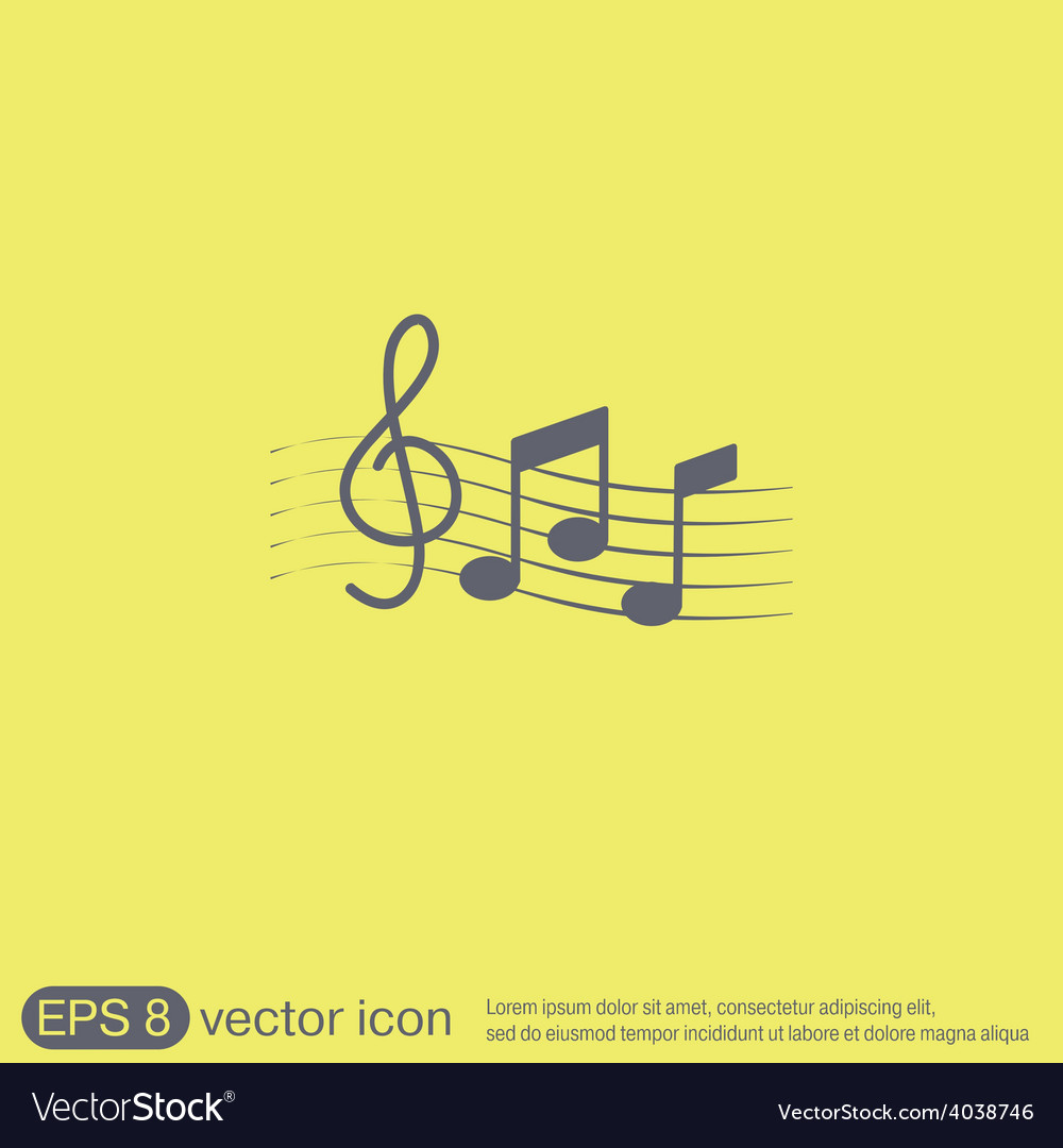 Musical notes and treble clef vector | Price: 1 Credit (USD $1)
