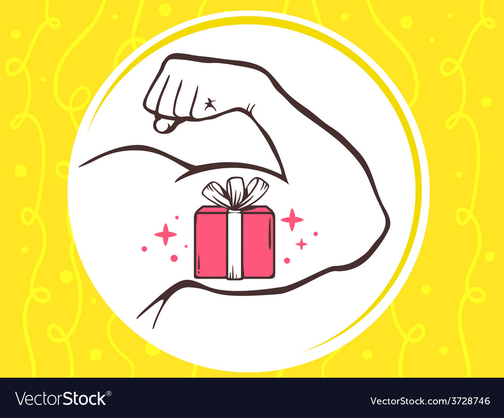 Strong man hand with icon of red gift bo vector | Price: 1 Credit (USD $1)