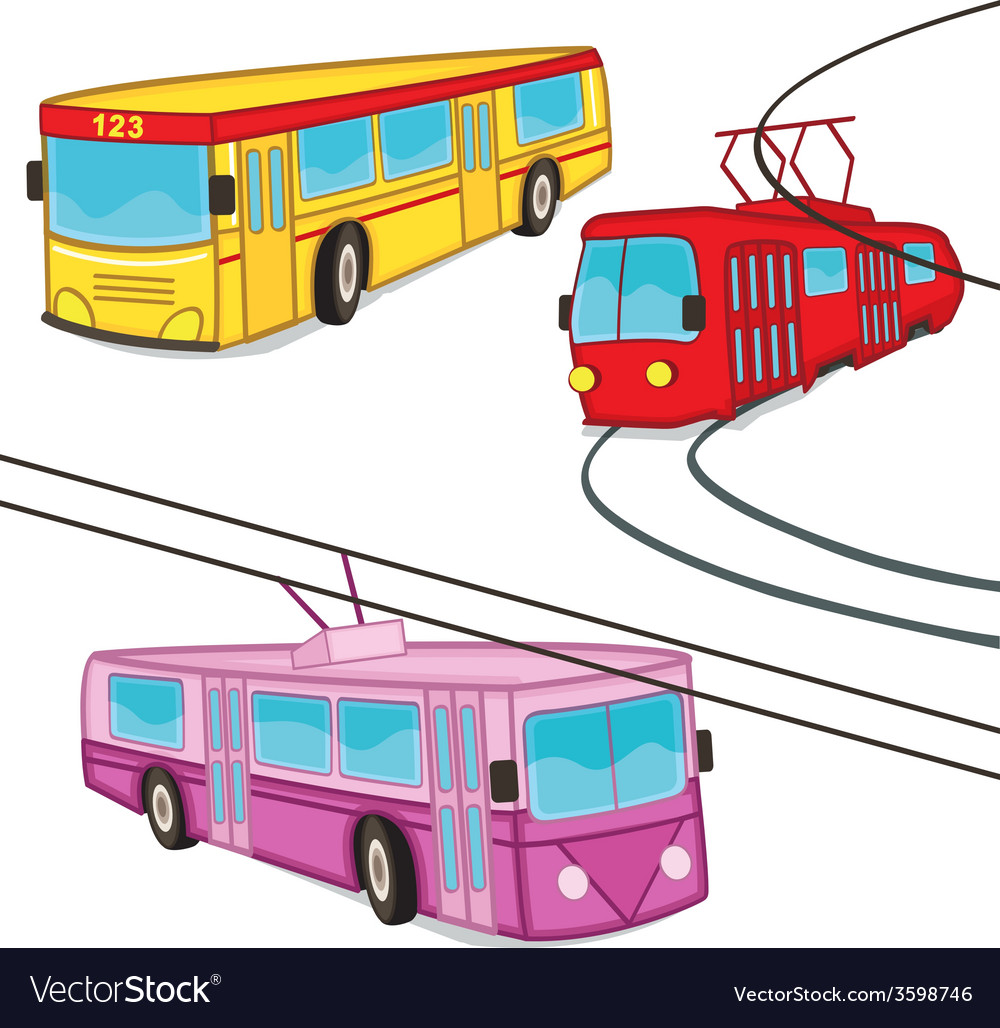 Trolleybus tram bus isolated vector | Price: 1 Credit (USD $1)
