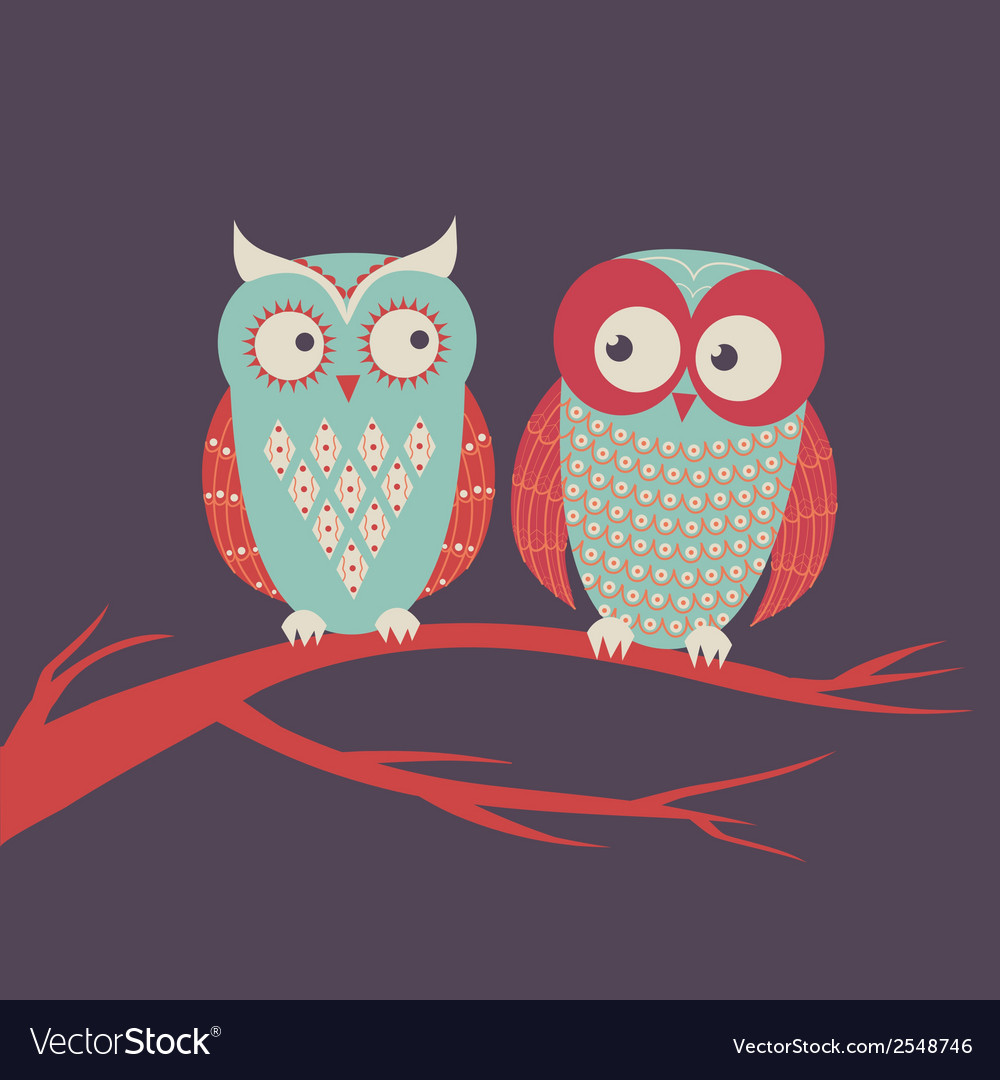 Two cute colorful owls sitting on a branc vector | Price: 1 Credit (USD $1)